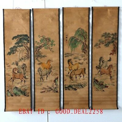 A Set of 4Pcs,Old Collection Scroll Painting/ Horses