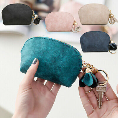 Women Small Pouch Wallet Bag Coin Purse Leather Card Zipper Multicolor