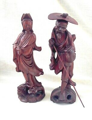 Pair of Hand Carved Wood Chinese Old Man & Woman Figures