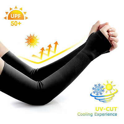 UV Protection Cooling Arm Sleeves - UPF 50 Sun Sleeves with Hand Cover - Unisex