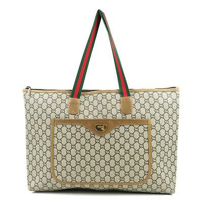 fd8cb10bd1675c Authentic GUCCI GG Plus Sherry PVC Leather Beige Tote Bag Used F/S