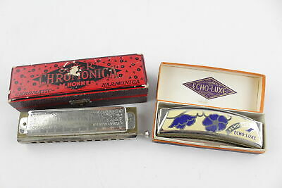 2 x Vintage HOHNER German HARMONICAS Inc. Echo-Luxe & Super Chromonica Boxed