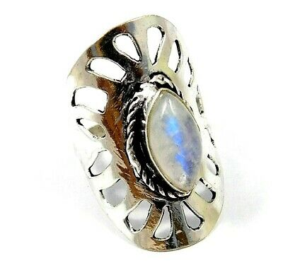 Awesome Rainbow Moonstone Silver Designer Ring Size-7.75 Jewelry JC7992