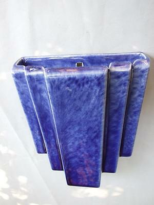 Antique Art Deco Trent Australian Pottery Blue Wall Vase 1930's