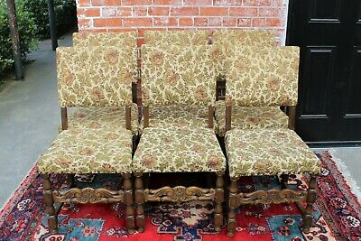 Set of 6 Antique Oak Wood Renaissance Upholstered Chairs | Dining Room Furniture