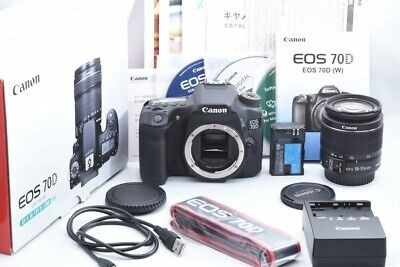 CANON EOS 70D 20.2MP Digital SLR Camera w/18-55mm IS II Lens EXC- From JP #241