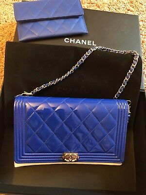 5b84cd6e4951 Brand New Chanel Le Boy WOC Wallet On Chain Clutch Royal Blue Patent Leather  Bag