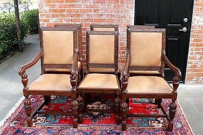 Set of 6 Antique Art Deco Tiger Oak Wood Dining Room Chairs with 2 Armchairs