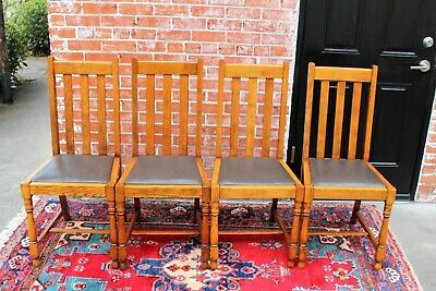 Set of 4 English Antique Arts & Crafts Mission Oak Chairs | Dining Furniture