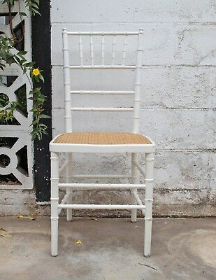 Hollywood Regency Faux Bamboo Chair Cane Wicker Mid Century