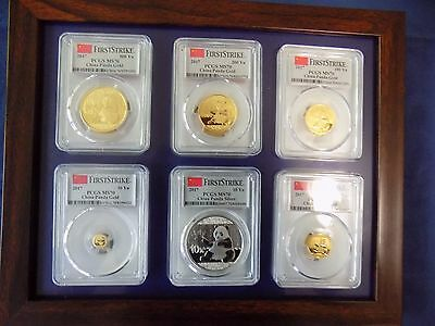 2017 China ~ 3 Oz Pure Gold&silver Panda 6 Coins Set All Pcgs Ms 70 First Strike