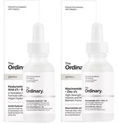 THE ORDINARY 2pcs Niacinamide 10% + Zinc 1% 30ml High-Strength Vitamin Mineral