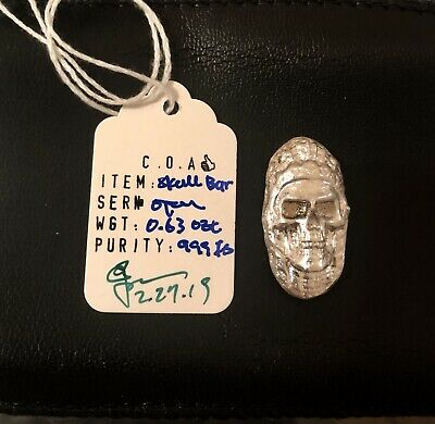 0.63 troy oz .999 3D Tribe Chief SKULL Hand Poured Silver Art Bar ! PegasusMint*