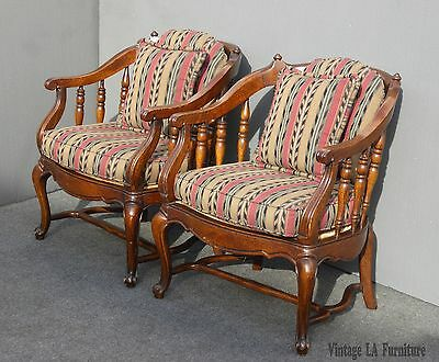 Pair Vintage French Country Red Green Striped Spindle Accent Chairs by Key City