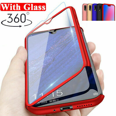 360° Full Protective Hybrid Case + Tempered Glass Cover For Huawei Y7 Pro 2019