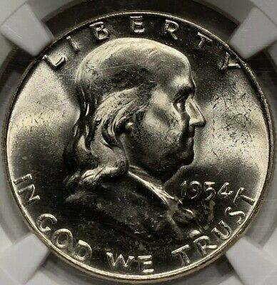 1954 D Franklin Silver Half Dollar Unc Near Gem Ngc Ms64