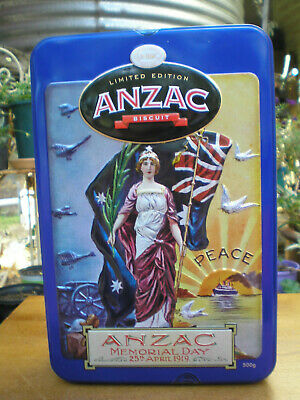 ANZAC BISCUIT TIN ~ ANZAC MEMORIAL DAY, 25th APRIL 1919 ~ PEACE ~ UNIBIC
