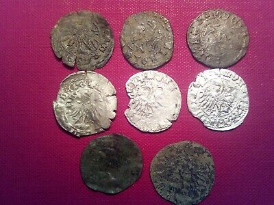 Europe, EAGLE and Crusader cross iside the shield. Medieval lot  of 8 coins