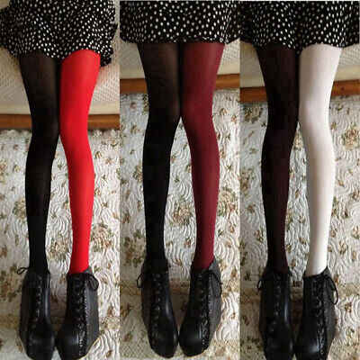 UK Women Girls Velvet Tights Pantyhose Contrast Color Stockings Socks Hosiery