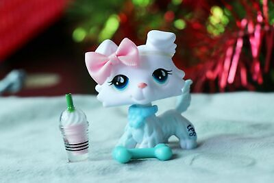 Littlest pet shop Custom Made OOAK LPS New Collie White Blue Eyes