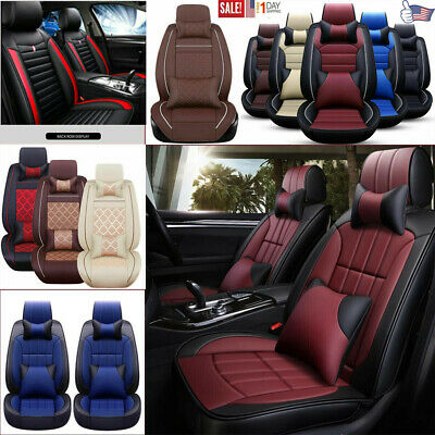 Fly5D Luxury PU Leather Car Seat Covers All Season Front Rear Seat Cover Cushion