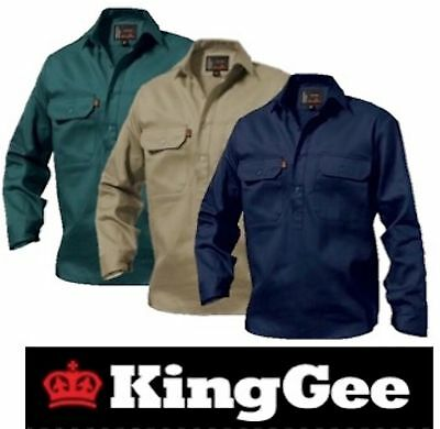 King Gee  - Mens Closed Front Long Sleeve Drill Work Shirt - K04020