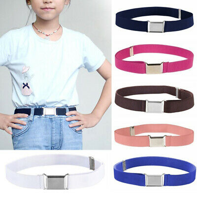 Children Waist Belt Elastic Adjustable Waistband Alloy Buckle Canvas Belt Kids