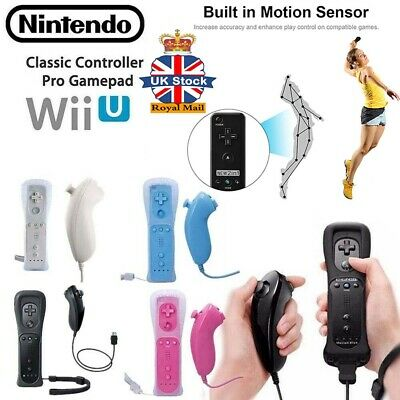Built in Motion Plus Remote + Nunchuck Controller For Nintendo Wii Case Cover ♢