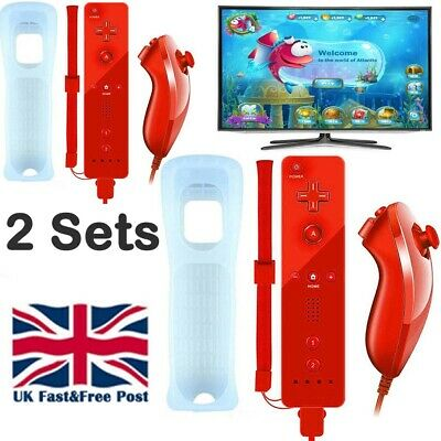 2Sets Red Remote Controller And Nunchuck For Nintendo Wii + Silicone + Strap Uk