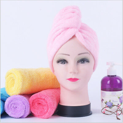 Quick Dry Microfibre Hair Drying Turban Bath Towel Head Wrap Hat Absorbent Towel