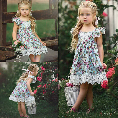 2019Fashion Cute Kids Baby Flower Girls Dress Lace Floral Dresses Skirts