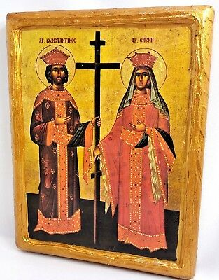 Saint Constantine and Helen Mount Athos Greek Orthodox Byzantine Icon on Wood