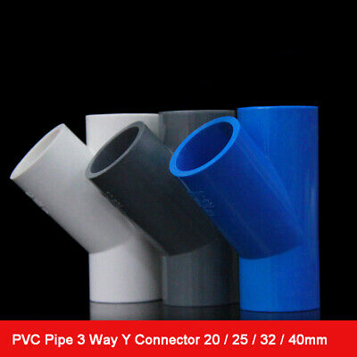1× Inner Dia 20/25/32/40mm 45 Degree 3 Way Y Connector PVC Pipe Fittings Adapter