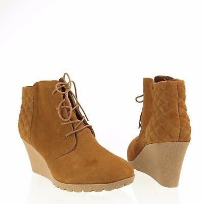 91d98a1f1dd Women s MIA Debra Shoes Brown Suede Platforms Wedge Ankle Boots Size 12 M  NEW!