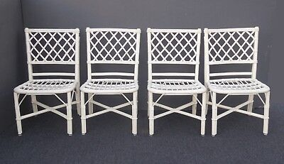 Cool Set Of Four Vintage White Rattan Bamboo Dining Chairs No Ocoug Best Dining Table And Chair Ideas Images Ocougorg