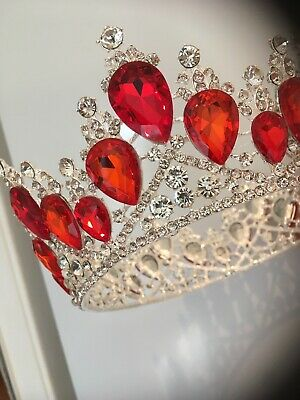 Silver/ Red Full Wedding Crown . Pageant Crown . Bride . New For 2018