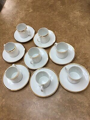 Thomas China 8 X Cups & Saucers Thick Gold Band 4mm