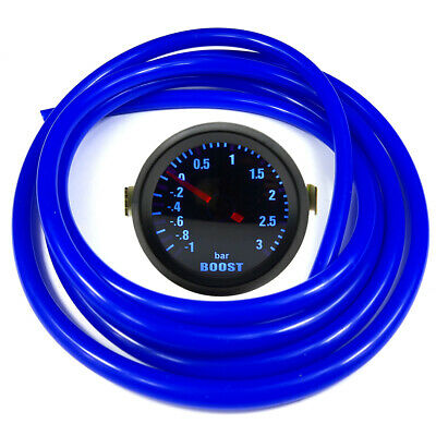 "52mm 2"" AGG-1 Smoked Turbo Boost Gauge -1 to 3 Bar Pressure Blue Hose"