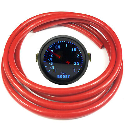 "52mm 2"" AGG-1 Smoked Turbo Boost Gauge -1 to 3 Bar Pressure Red Hose"