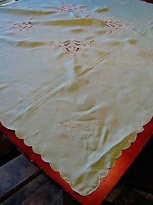 Vintage Cutwork Tablecloth Floral Embroidered White on Sky Blue Scallop Hem 40""