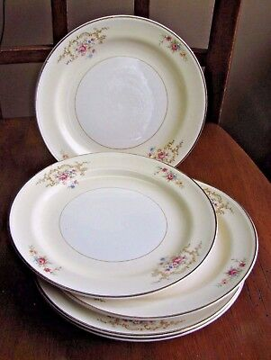 HOMER LAUGHLIN EGGSHELL Nautilus USA Salad  Plate W239 Gold Scroll LOT 6