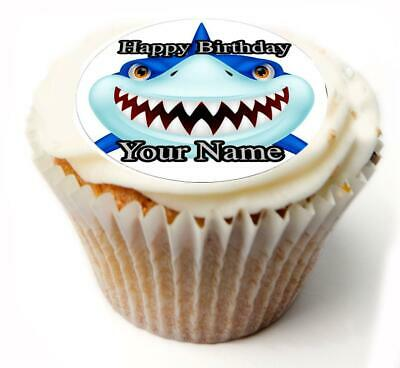 Cupcake Topper  Shark personalised Rice paper Icing sheet 891