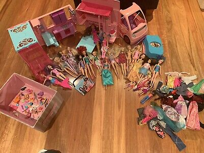 Bulk Barbie Dream Camper Pink Van Pops Out Camping 14 Barbie Dolls, Accessories