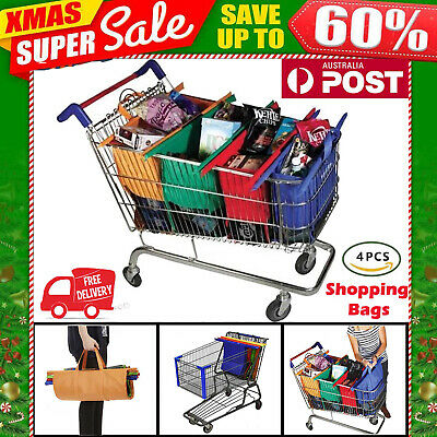 Set of 4 Trolley Shopping Bags Chritmas Gift Eco-Friendly Reusable Bags