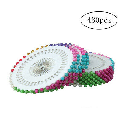 480PCS Round Faux Pearl Head Pins for Dressmaking Sewing Craft Decor Multicolour