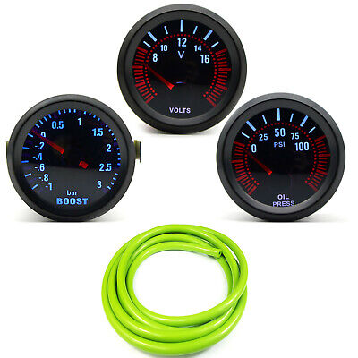 52mm AGG-1 Smoked Turbo Boost 3 Bar + Oil Pressure + Volt Gauge Green Hose