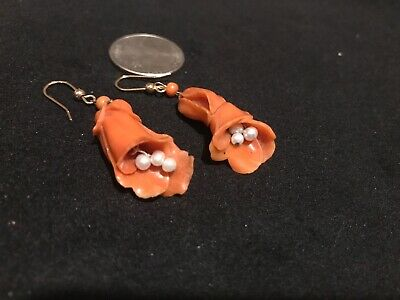 Rare Antique Chinese Coral caved Magnolia with Genuine  Pearls and gold clasps