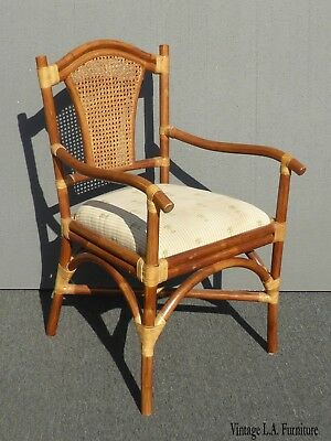 Vintage Tiki Palm Beach Style Rattan Cane Back Accent Chair ~Tommy Bahama Style