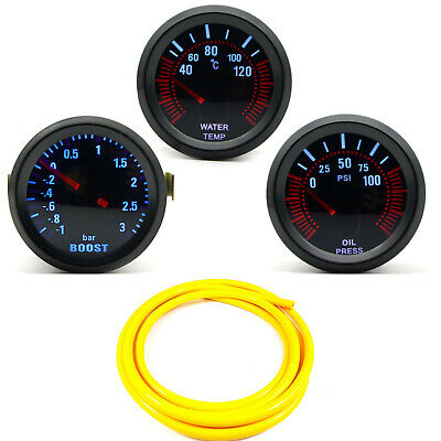 52mm AGG-1 Smoked Turbo Boost 3 Bar + Water Temp + Oil Pressure Gauge Yellow HS