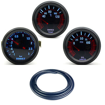 52mm AGG-1 Smoked Turbo Boost 3 Bar + Water Temp + Oil Pressure Gauge Black Hose